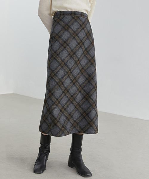 【Fano Studios】Ombre check wool skirt FD20B020