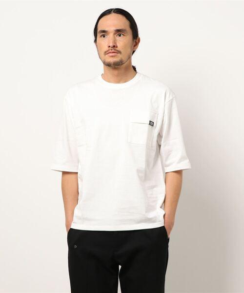 USAコットン5分袖Tシャツ フララップ付きのポケット オーバーサイズ/ビッグシルエット