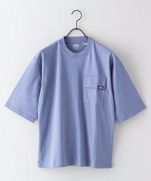 USAコットン5分袖Tシャツ フララップ付きのポケット オーバーサイズ/ビッグシルエットブルー系その他