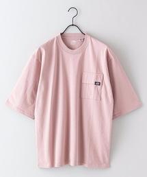 USAコットン5分袖Tシャツ フララップ付きのポケット オーバーサイズ/ビッグシルエットピンク系その他