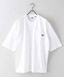 USAコットン5分袖Tシャツ フララップ付きのポケット オーバーサイズ/ビッグシルエットホワイト