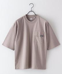 USAコットン5分袖Tシャツ フララップ付きのポケット オーバーサイズ/ビッグシルエットカーキ