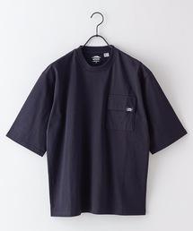 USAコットン5分袖Tシャツ フララップ付きのポケット オーバーサイズ/ビッグシルエットブラック