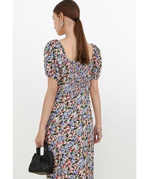 【Fano Studios】【2021SS】Floral slit puff sleeve dress FX21L204
