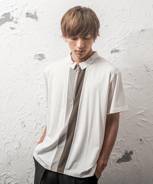 ハーフZIPポロシャツ/センター切替/半袖