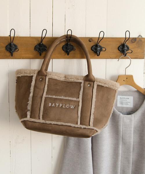 BAYFLOW(ベイフロー)の「フェイクムートンロゴトートM 19AW(トートバッグ)」|ブラウン