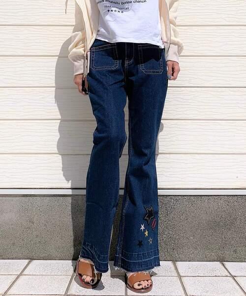 【代引き不可】 【セール】ワッペン付きブーツカットデニムパンツ(デニムパンツ)|Q(キュー)のファッション通販, キクヨウマチ:3ee334ef --- blog.buypower.ng