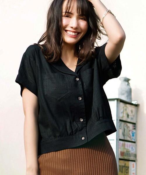 GeeRA(ジーラ)の「綿麻開襟シャツ(シャツ/ブラウス)」|ブラック