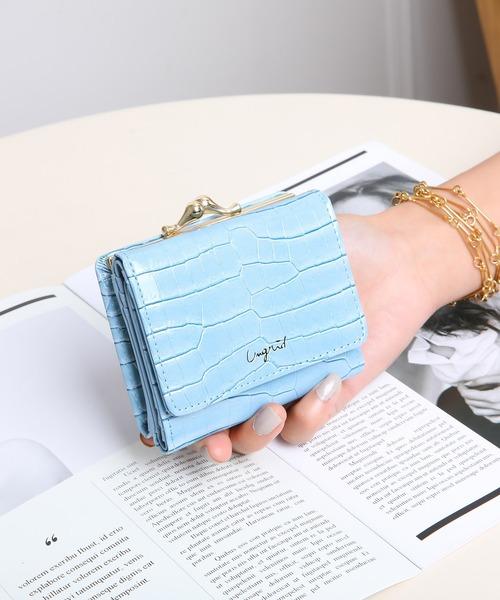 Ungrid(アングリッド)の「【Ungrid/アングリッド】 シャイニースモールクロコがま口財布(財布)」|ライトブルー