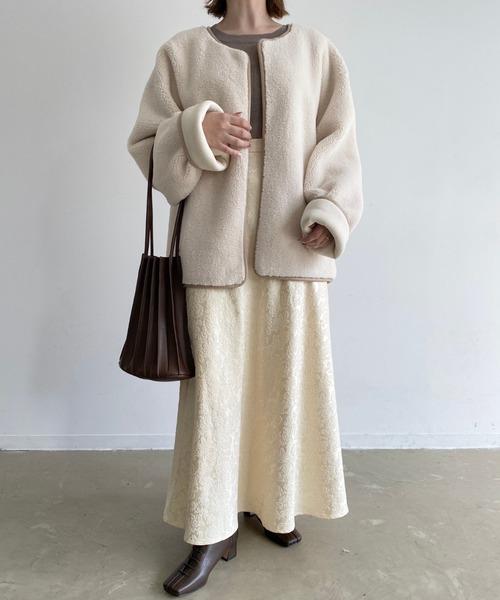[Auntie Rosa] レザープリーツトートバッグ/バッグインバッグポーチ付き/カヌレバッグ