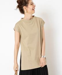 スタンドカラースリットチュニックTシャツ#