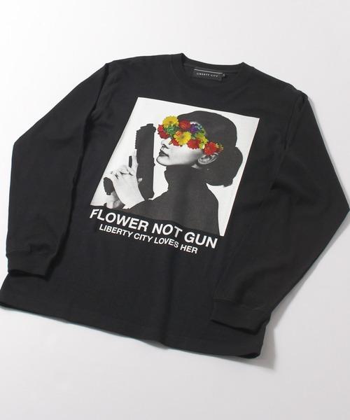 LIBERTY CITY(リバティシティ)の「【LIBERTY CITY/リバティーシティ】 [FLOWER NOT GUN] ロンT(Tシャツ/カットソー)」|詳細画像