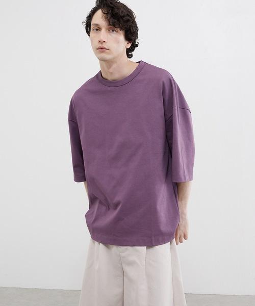 Lui's(ルイス)の「ハイクオリティー7分袖ビッグシルエットTシャツ(Tシャツ/カットソー)」|ライトパープル