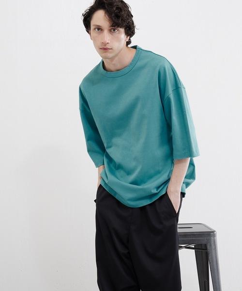 Lui's(ルイス)の「ハイクオリティー7分袖ビッグシルエットTシャツ(Tシャツ/カットソー)」 サックスブルー