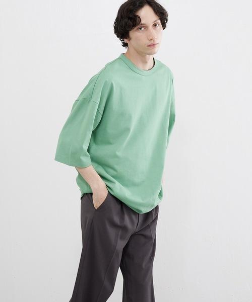 Lui's(ルイス)の「ハイクオリティー7分袖ビッグシルエットTシャツ(Tシャツ/カットソー)」|ミント