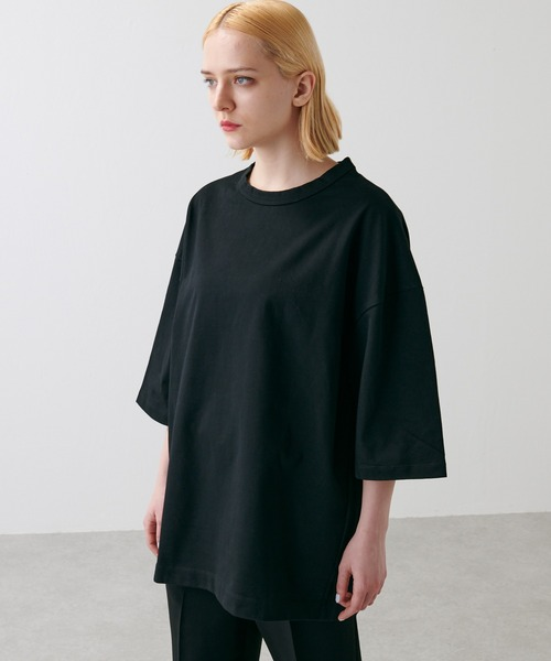 Lui's(ルイス)の「ハイクオリティー7分袖ビッグシルエットTシャツ(Tシャツ/カットソー)」|ブラック