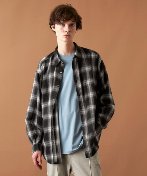 オーバーサイズ マルチパターン/ファブリック レギュラーカラーL/Sシャツ EMMA CLOTHES 2021AW