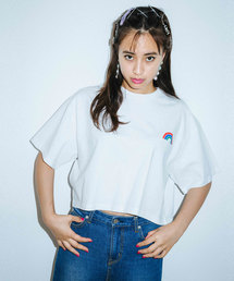 X-girl(エックスガール)のRAINBOW CROPPED S/S MENS TEE(Tシャツ/カットソー)