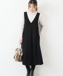 La TOTALITE(ラトータリテ)のダブルクロスジャンパードレス【手洗い可能】◆(ジャンパースカート)