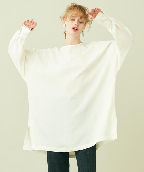シルキーポプリン チュニックシャツ