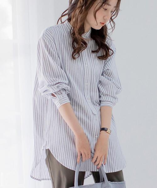 バンドカラーロングシャツ(ストライプシャツバンドカラーシャツ)