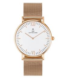 KAPTEN&SON(キャプテンアンドサン)の【KAPTEN&SON】ローズゴールド 40mm ホワイト メッシュバンド(腕時計)
