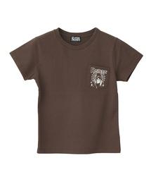 SPIDER WEB GIRL プリント ポケ付チビTシャツ