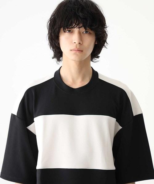 【STUDIOUS】ビッグシルエットポンチパイピングパネルTシャツ