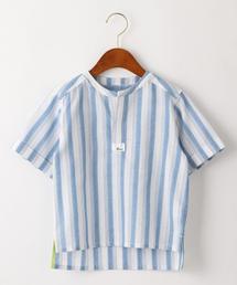 ストライプオーバーサイズプルオーバーシャツ ホワイト
