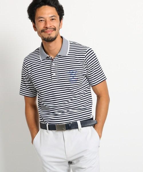 【吸水速乾/UVカット】胸ポケット付きボーダー半袖ポロシャツ