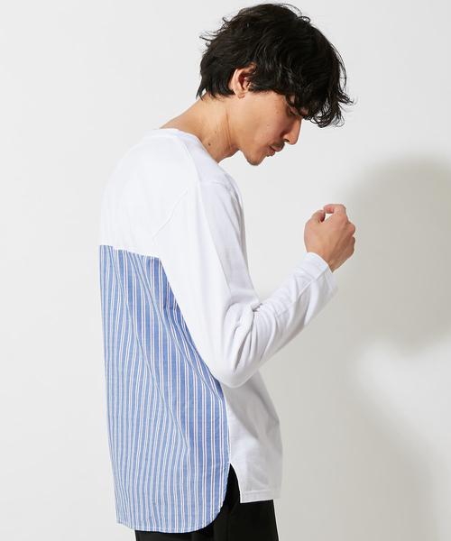 後ろ布帛切替ロングスリーブTシャツ