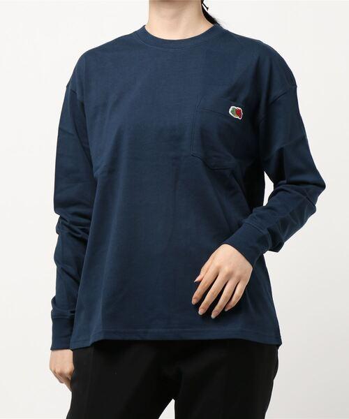 FRUIT OF THE LOOM(フルーツオブザルーム)の「米綿 ポケット付き L/S Tシャツ(Tシャツ/カットソー)」 ネイビー