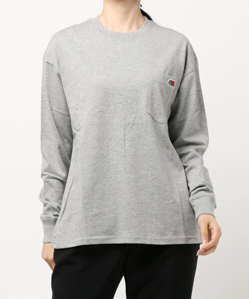 FRUIT OF THE LOOM(フルーツオブザルーム)の「米綿 ポケット付き L/S Tシャツ(Tシャツ/カットソー)」 グレー