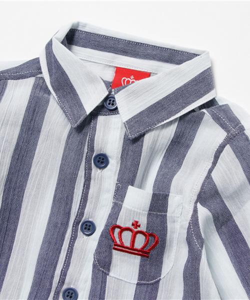 親子ペア★ストライプシャツ/ロールアップ9798K