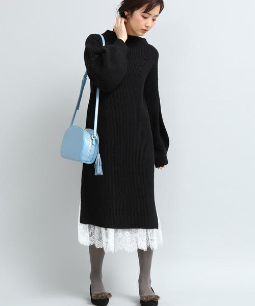 ViS(ビス)の「【SET】レーススカート付きロングニットワンピース(ワンピース)」 ブラック