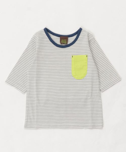 RAGMART(ラグマート)の「ボーダーTシャツ 5分袖(Tシャツ/カットソー)」|グレー