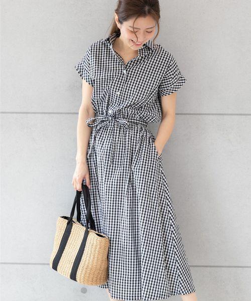 307195abbe0be4 PREFERIR(プレフェリール)のギンガムチェック シャツ ロング ワンピース【テレビ朝日・