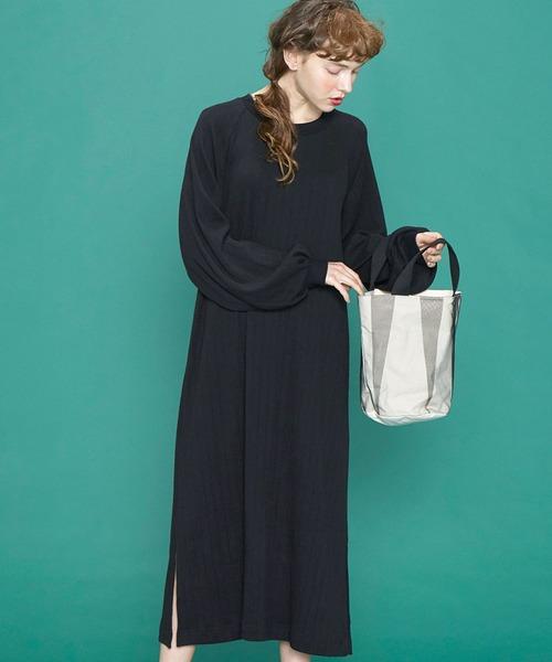 シロップ.(シロップ.)の「ボリューム袖がかわいい Aラインカットソーワンピース(ワンピース)」|ブラック