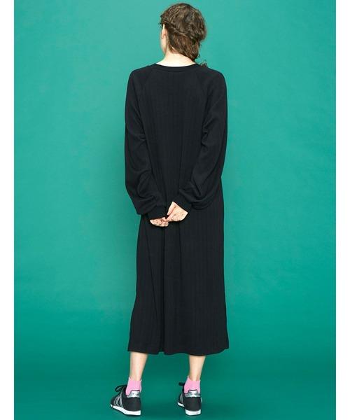 シロップ.(シロップ.)の「ボリューム袖がかわいい Aラインカットソーワンピース(ワンピース)」|詳細画像