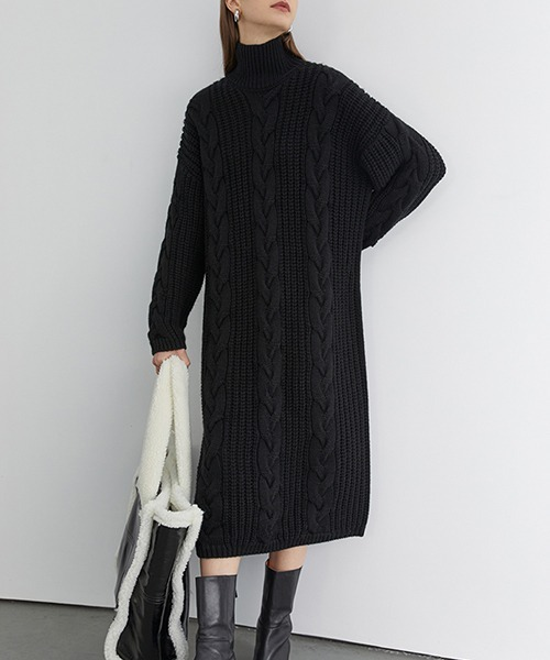 【Fano Studios】Turtleneck cable knit one-piece FD20L006