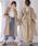 select MOCA(セレクトモカ)の「ハリ感のあるコットン素材◆コクーンシルエットバッククロスキャンディースリーブ長袖ロングシャツワンピース(シャツワンピース)」|ベージュ