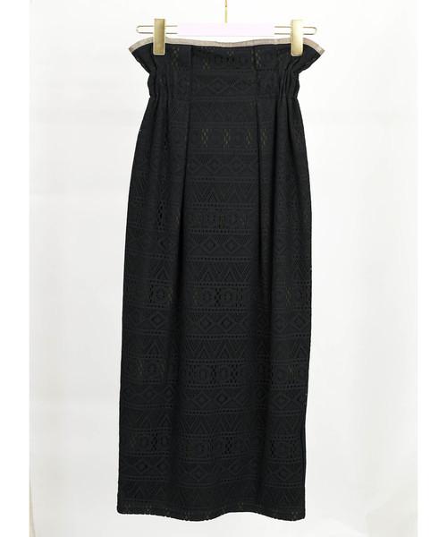 【Eimee Law】クロシェレースレイヤードタイトスカート