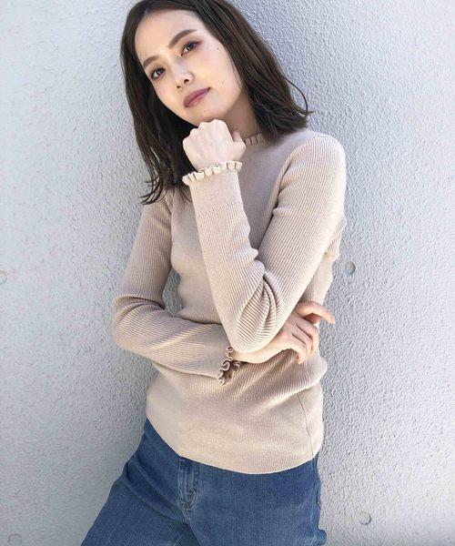 PICCIN(ピッチン)の「VILOFT袖&衿フリルニット(ニット/セーター)」|ベージュ