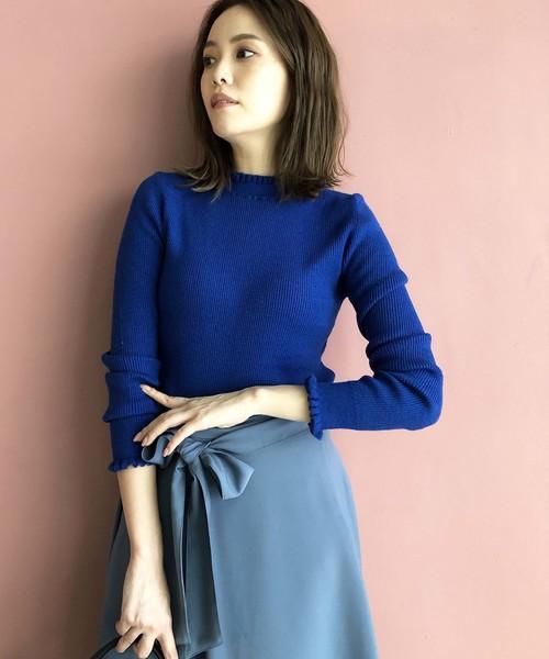 PICCIN(ピッチン)の「VILOFT袖&衿フリルニット(ニット/セーター)」|ブルー