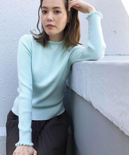PICCIN(ピッチン)の「VILOFT袖&衿フリルニット(ニット/セーター)」|ライトグリーン