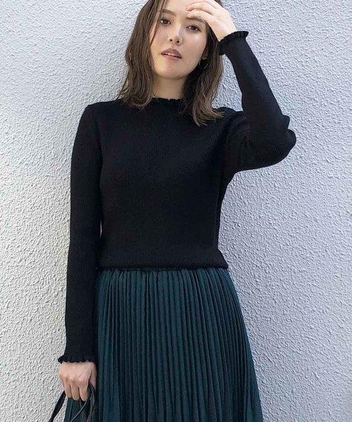 PICCIN(ピッチン)の「VILOFT袖&衿フリルニット(ニット/セーター)」|ブラック