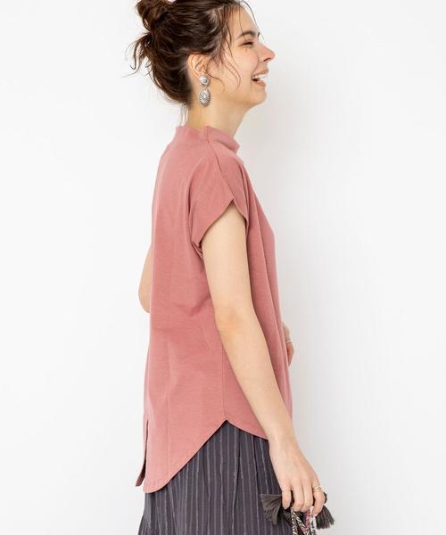【接触冷感・UVカット】スタンドカラーバックスリットTシャツ#