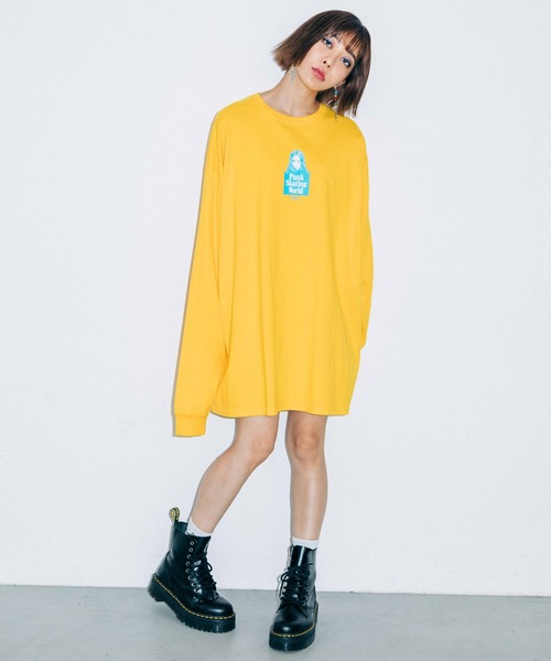 X-girl(エックスガール)の「FACE L/S TEE DRESS(ワンピース)」|イエロー