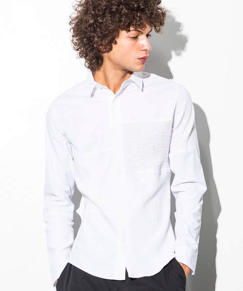 ブロッキングニットシャツ