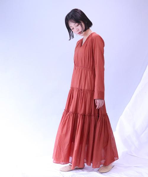 ∴【 ne Quittez pas / ヌキテパ 】 COTTON SOLID GATHER LONG DRESS